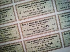 """Certificato azionario della Società """"Migiurtinia"""""""