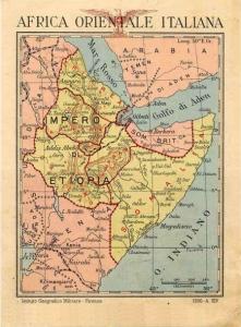 cartolina con la rappresentazione geografica dell'Africa Orientale Italiana