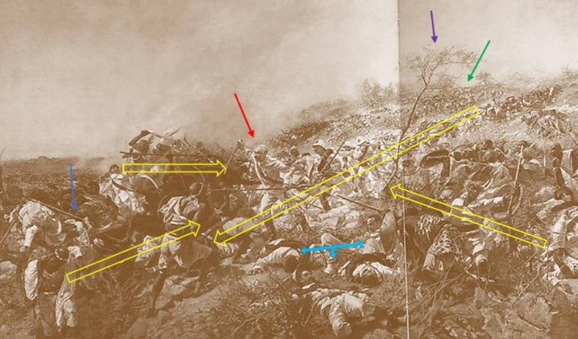 Dogali_Le frecce gialle indicano le principali linee di forza dell_immagine. Quelle colorate alcuni dettagli su cui ci si soffermerà in seguito