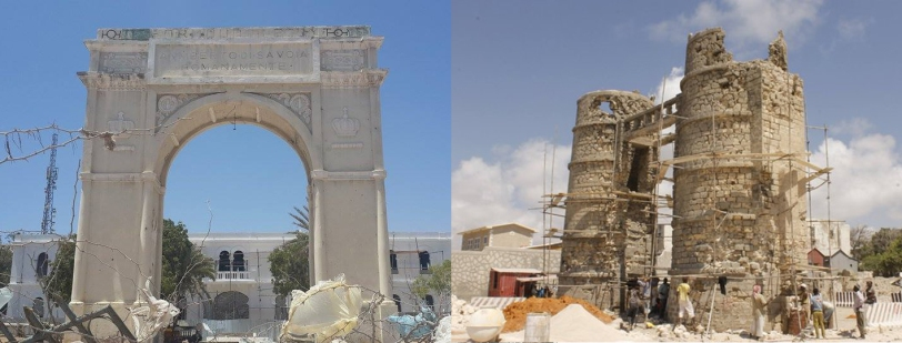 Mogadiscio_Restauro_monumenti fascisti-Arco e Binocolo