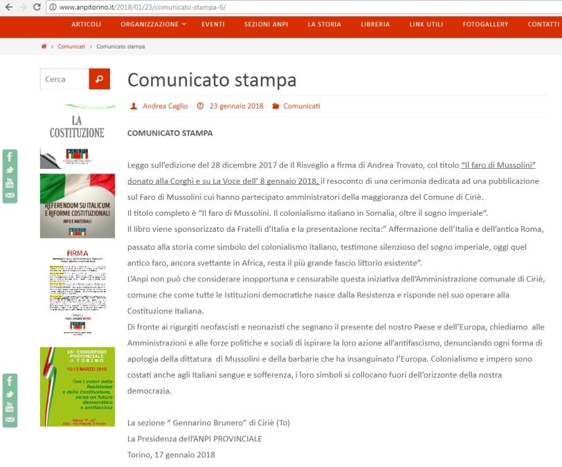 ANPI_Ciriè_Il faro Mussolini