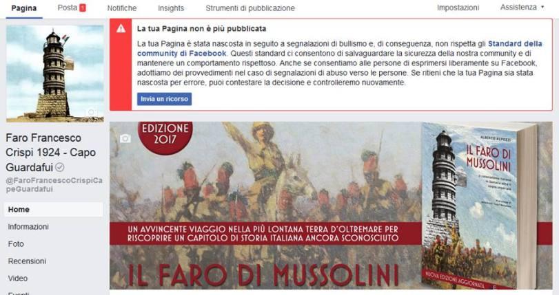 Pagina Facebook Faro Crispi bloccata