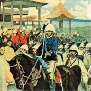 Bersaglieri italiani arrivano a Pechino durante la rivolta dei Boxer