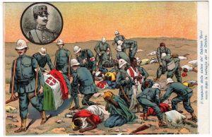 Il trasporto della salma del capitano Verri in una cartolina d'epoca