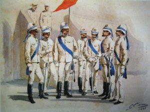 Ufficiali italiani del Corpo Speciale d'Africa, 1885-1890, in una tavola di Quinto Cenni