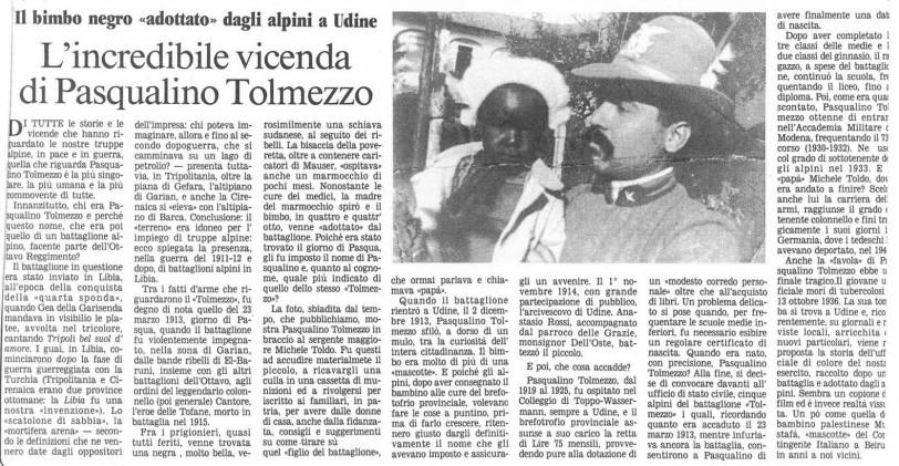 Articolo di giornale Pasqualino Tolmezzo