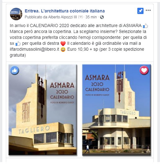 calendario Asmara 2020