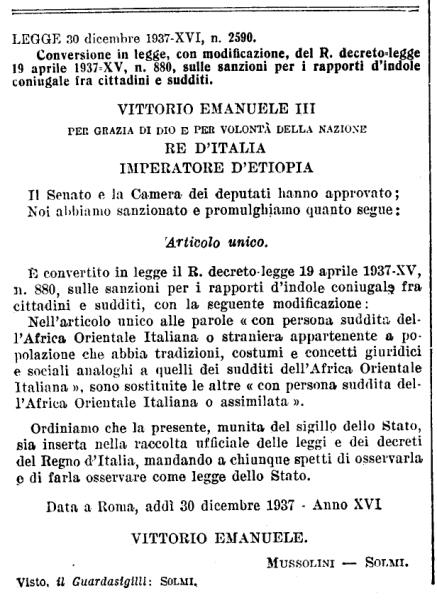 30 dicembre 1937_Conversione in legge del RDL 19 aprile 1937, n.800 - GU.51 del 3 marzo 1938_pag.835