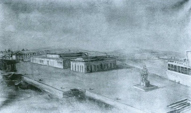 bozzetto prospettico dove doveva essere collocata la scultura al porto di Napoli
