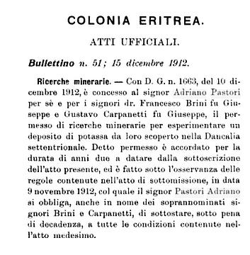 1-Una della tante concessioni minerarie nella Dancalia italiana rilasciate ad Adriano Pastori (dalla Rivista coloniale)