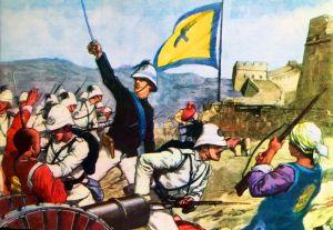 Bersaglieri italiani alla Grande Muraglia durante la spedizione di Calgan