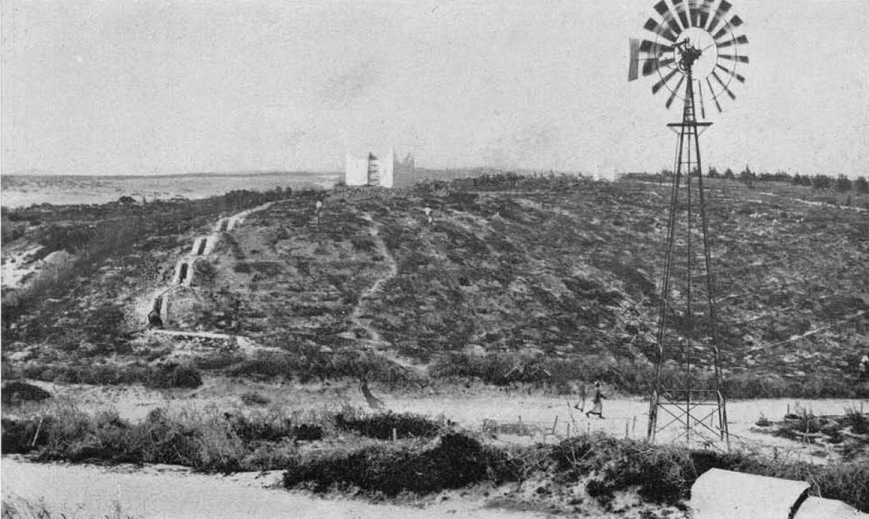 1931,Mogadiscio-Pozzi,vasche e condutture per l'irrigazione della duna