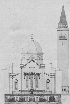 scan (7) Tripoli. La facciata della Cattedrale. Arch. F. De Fausto